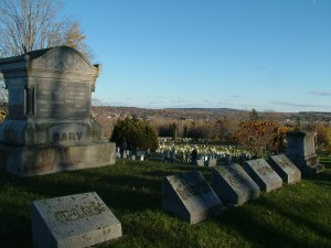 Evergreen Cemetary In Houlton Maine Overlooks Town.