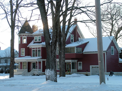 New Fresh White Snow Blankets, Wraps Around A Maine Victorian.