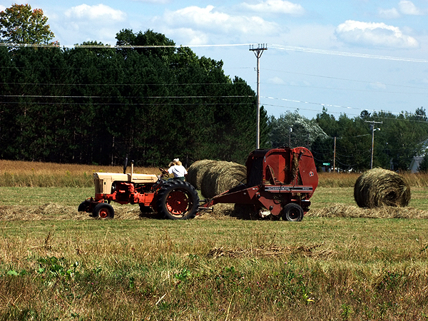 Round Bales Taking Over For Square Bail Haying Maine Farming Operation.