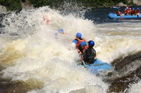 Noise Of Water, Adrenalin Pumping As You White Water Raft On A Maine River.