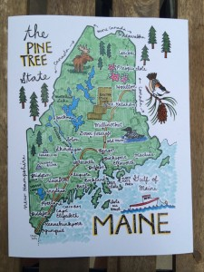 The Unique State Of Maine Hand Drawn, Creatively Depicted. Like The People That Are The Fruit Of The Tree.