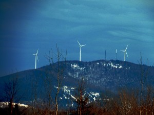 Maine Wind Farm Generators Dot The Landscape.