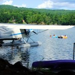 Maine Seap Plane, Pontoons On Lake Aircraft.