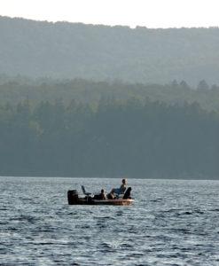 maine fishing boat on lake