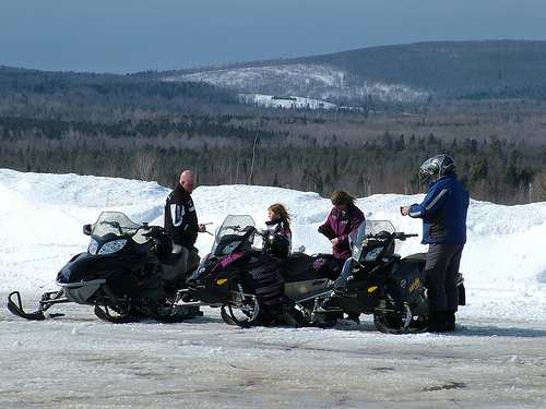 maine snow sledders up north