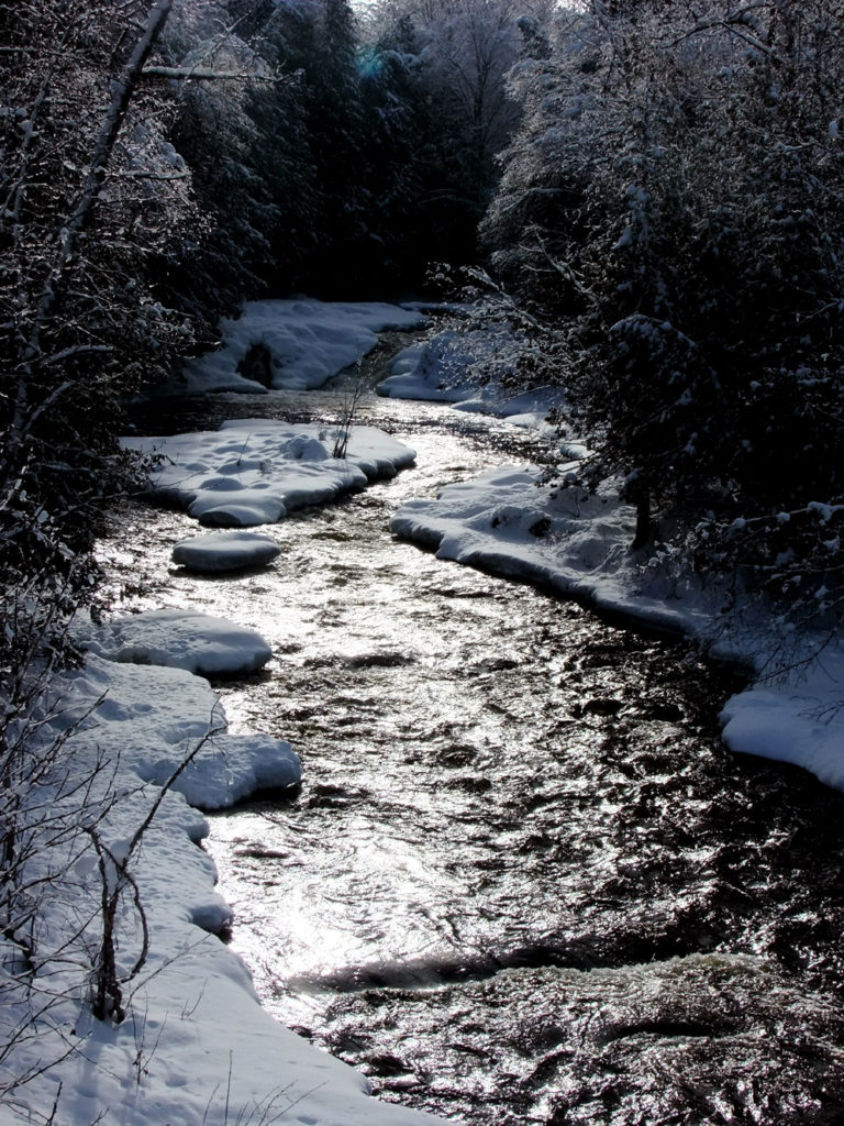 maine winter stream photo