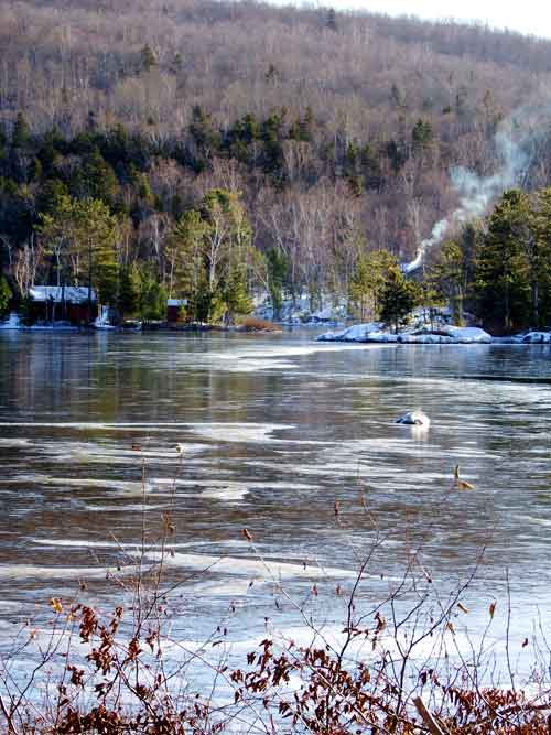 maine in winter on a lake