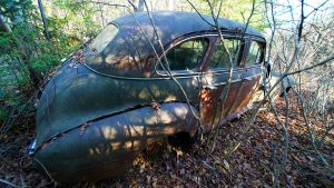 Old Cars Left To Rot Away Into The Landscape.