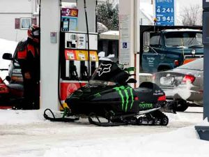 buying gas for snow sled