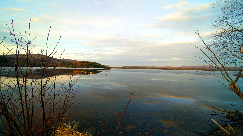 ice melting on a maine lake