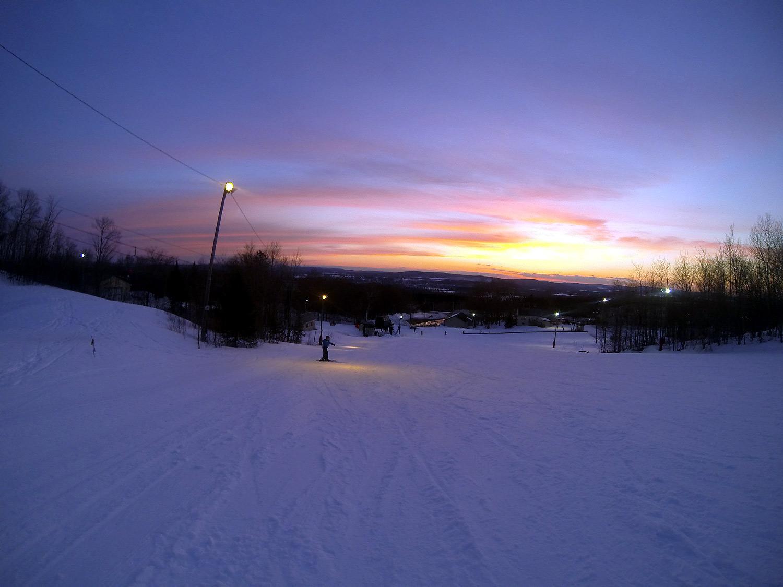 dusk on maine snow ski area