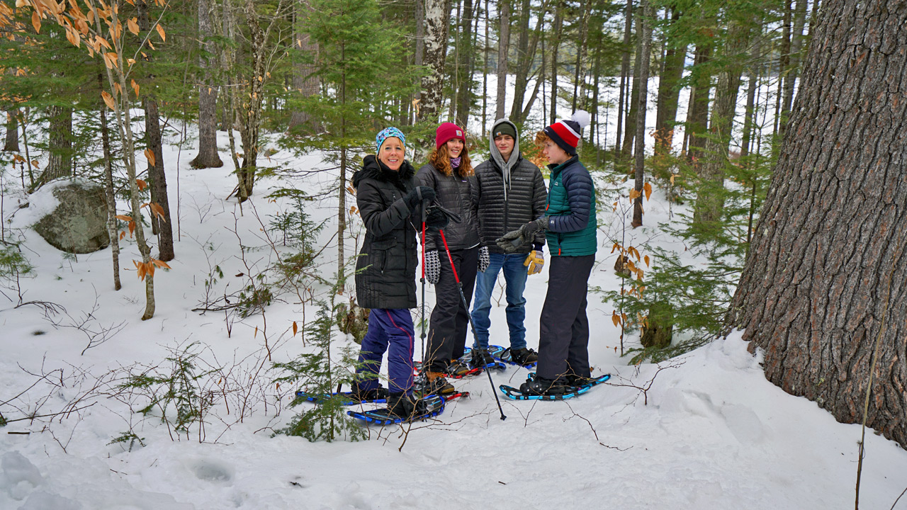 snow shoeing in maine