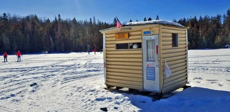 maine lake ice fishing shack